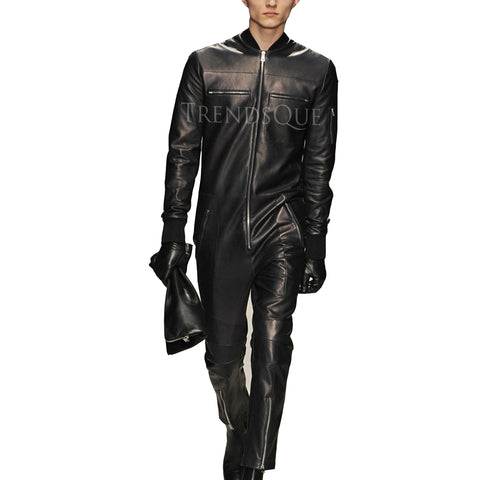 NEW STYLE MEN PANELED LEATHER JUMPSUIT