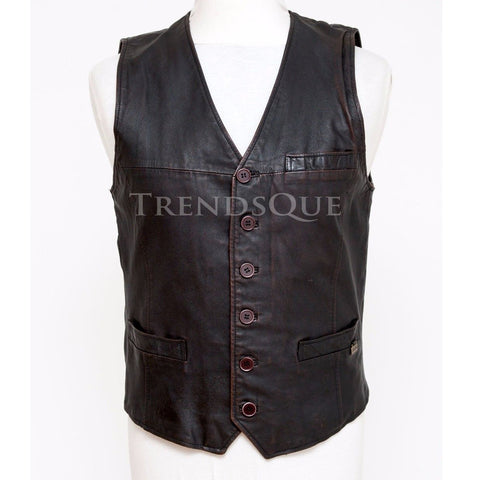 GENUINE MEN LEATHER VEST COAT