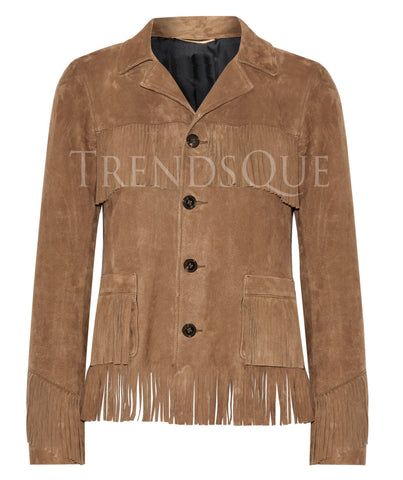 FRINGED SUEDE LEATHER SHIRT FOR WOMEN