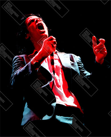 Nick Cave live with microphone Art Print