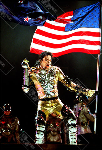 Michael Jackson live gold suit & US flag Women's Vest