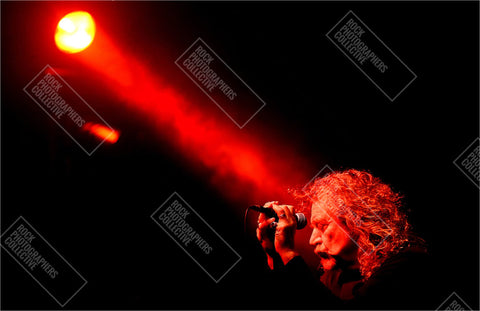Robert Plant live at mic eyes closed Art Print