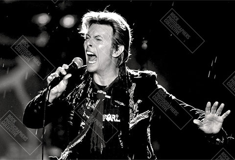 David Bowie live close-up with microphone Art Print