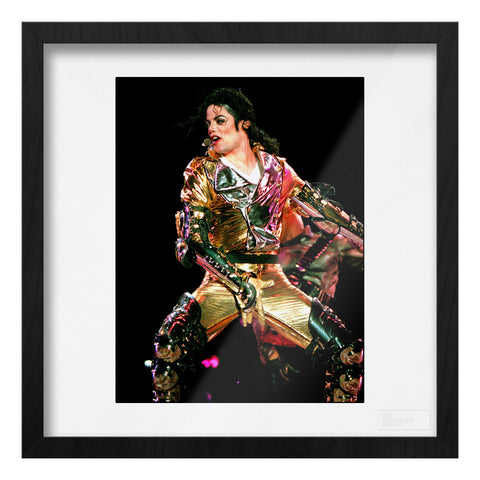 Michael Jackson live, gold suit close up Art Print