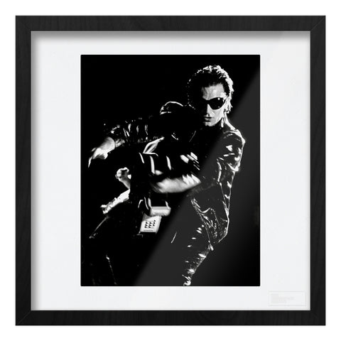 U2 live Bono with guitar high contrast b&w Art Print