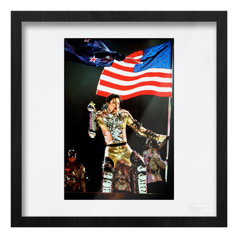 Michael Jackson live gold suit & US flag Art Print