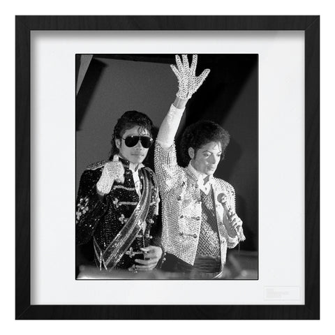 Michael Jackson with waxwork AP Art Print