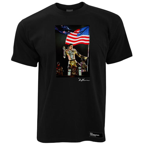 Michael Jackson live gold suit & US flag Men's T-Shirt