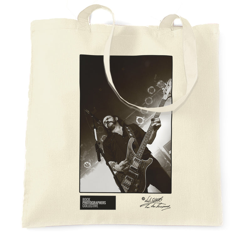 Natural Lemmy Motorhead Tote Bag On stage