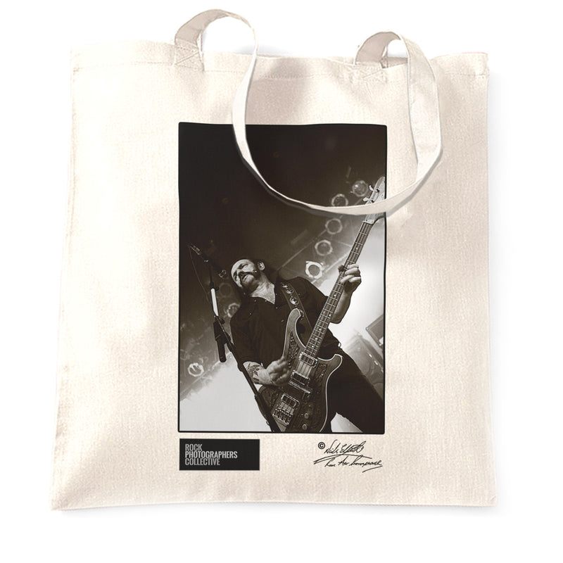 White Lemmy Motorhead Tote Bag On stage
