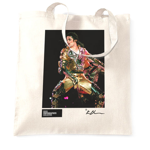 Michael Jackson live, gold suit close up Tote Bag