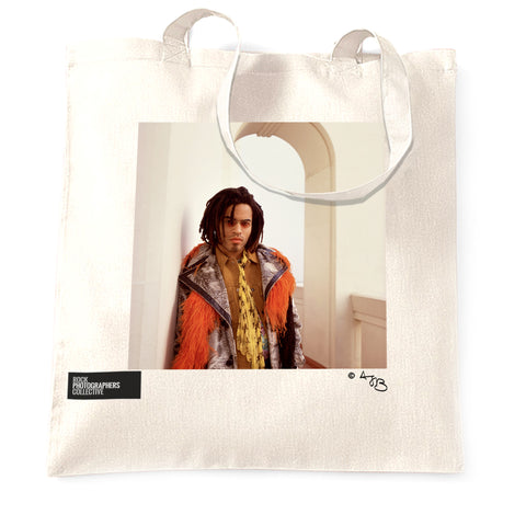 Lenny Kravitz Tote Bag. Square portrait. Colour.