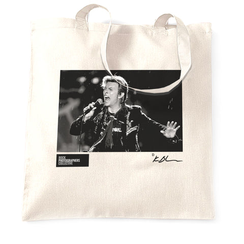David Bowie live close-up with microphone Tote Bag