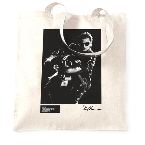 U2 live Bono with guitar high contrast b&w Tote Bag