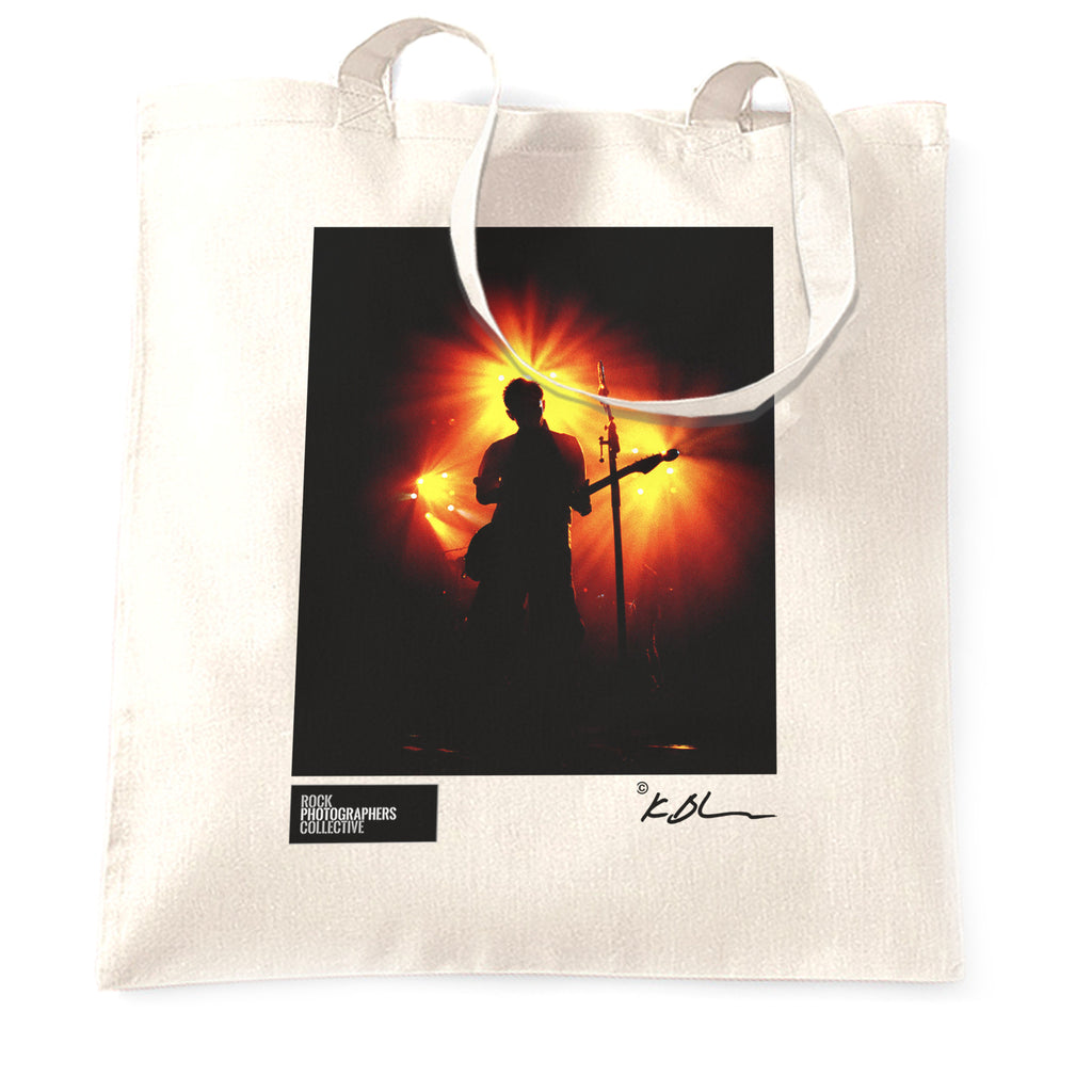 Radiohead live silhouette red & yellow light Tote Bag
