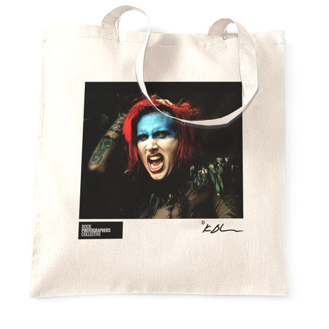 Marilyn Manson live head shot Tote Bag