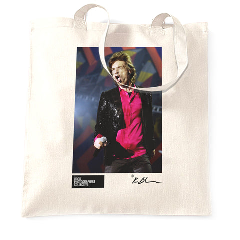 Rolling Stones - Mick Jagger with mic Tote Bag