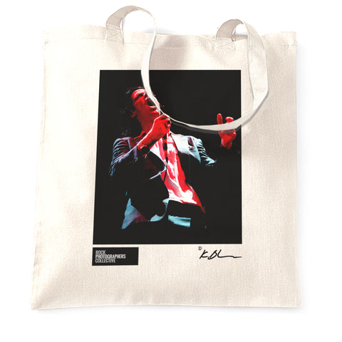Nick Cave live with microphone Tote Bag