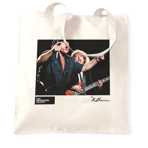 AC/DC live - Brian Johnson and Angus Young Tote Bag