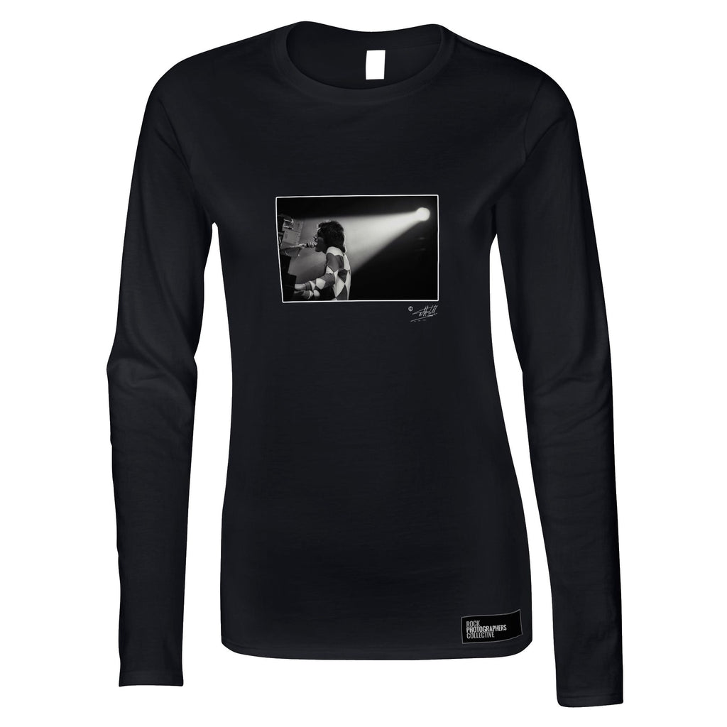 Freddie Mercury Black and White Rock Women's Long Sleeve