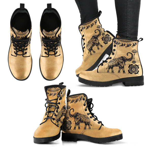 Beige Good Fortune Elephant Boots | woodation.myshopify.com