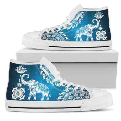 Blue Mandala Elephant High Top Shoes