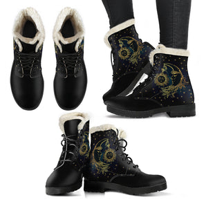 Faux Fur Sun & Moon Boots