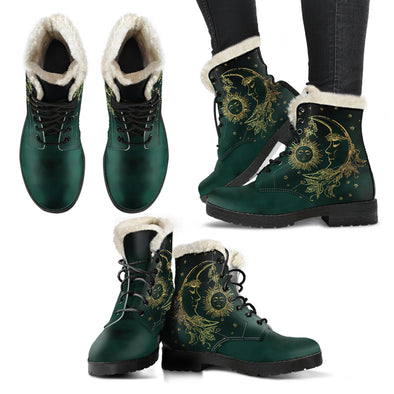 Emerald Sun & Moon Faux Fur Boots