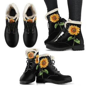 Bohemian Sunflower Faux Fur Boots
