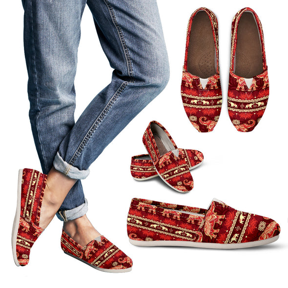 Red Mandala Casual Shoes | woodation.myshopify.com
