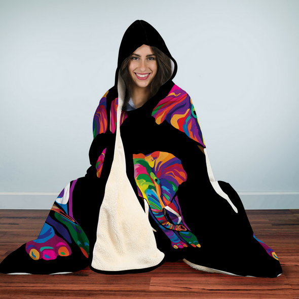 Bohemian Elephant Hooded Blanket | woodation.myshopify.com