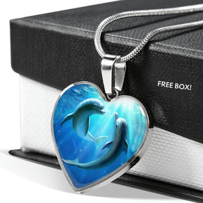 Dolphin Love - Heart Necklace