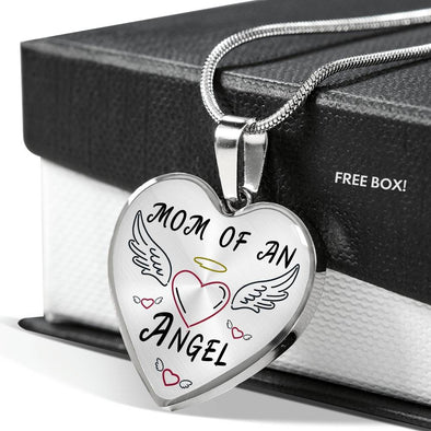 Mom Of An Angel - Heart Necklace