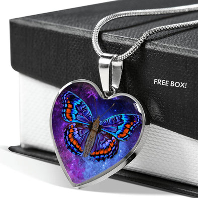 Butterfly Galaxy - Heart Necklace
