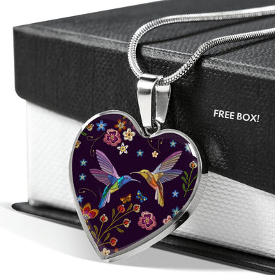 Bohemian Hummingbird Heart Necklace (Deep Purple)