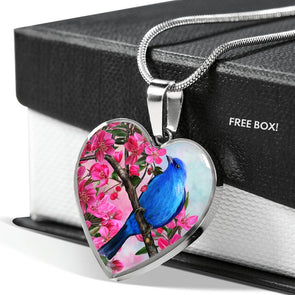 Blue Bird - Heart Necklace