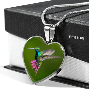 Wild Hummingbird - Heart Necklace