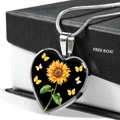 Bohemian Sunflower - Heart Necklace