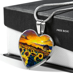 Sunflower Sunset - Heart Necklace