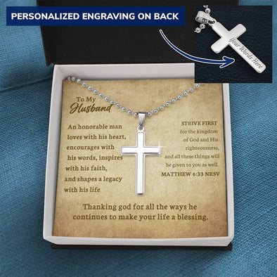 To My Husband - Personalized Cross Necklace