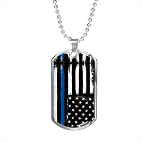 Thin Blue Line -Military Necklace