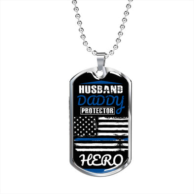 Thin Blue Line - Military Necklace