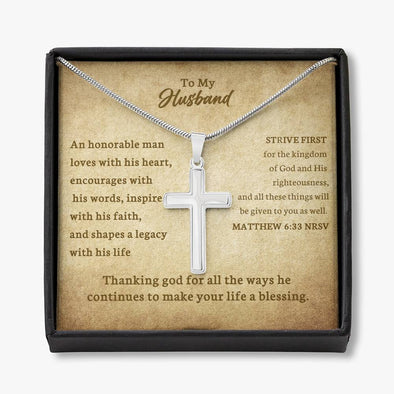 To My Husband - Cross Necklace