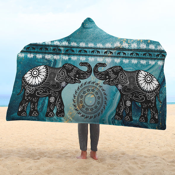 Marble Elephant Hooded Blanket | woodation.myshopify.com
