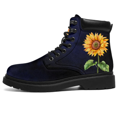 Deep Blue Sunflower All-Season Boots