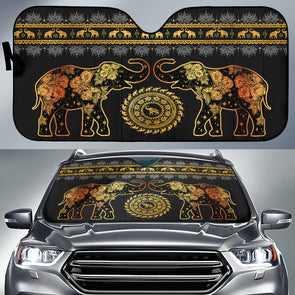 Elephant Golden Mandala Auto Sun Shades | woodation.myshopify.com