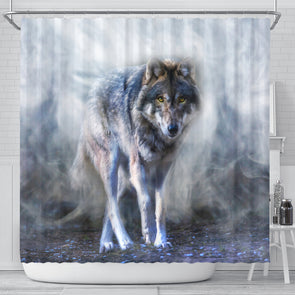 Mystical Wolf Shower Curtain | woodation.myshopify.com