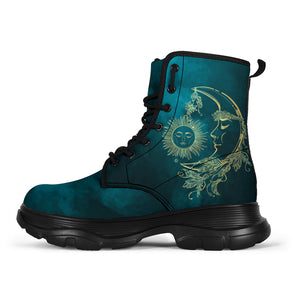 Teal Sun & Moon Classic Boots