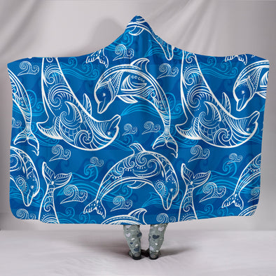 Dolphin Love Hooded Blanket | woodation.myshopify.com