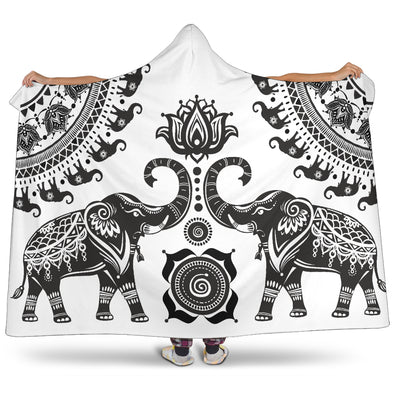 White Mandala Elephant Hooded Blanket